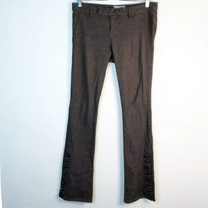Free People 8 Trouser Pant Leather Covered Buttons